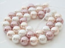 """10mm Natural White Pink Purple South Sea Shell Pearl Round Gems Loose Beads 15"""""""