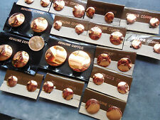 Vintage lot new old stock 15 prs asst round copper CLIP earrings NOS JY22
