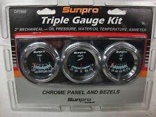 SUNPRO GAUGES  TRIPLE GAUGE KIT TEMP AMPS OIL NEW MOPAR B.P.O. FORD GM CHEVY