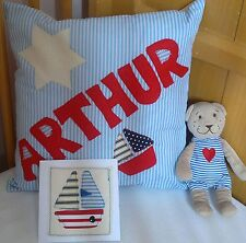 Any Name  Boys PERSONALISED Cushion Card Teddy GIFT Christening New Baby Present