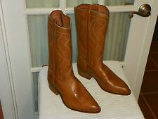 Texas Brand Cowboy Boots Mens Size 9 EE  Tan Leather made in USA
