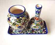 Vintage Jerusalem Armenian Ceramic 3 Piece Pottery Set (2 Vases/Tray)
