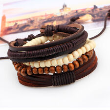 Women Men`s Fashion Braided Adjustable Leather Bracelet Punk Jewelry Cuff Gift