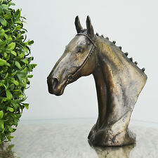Bronze Race Horse Head Statue Sculpture Hunting Bust NEW By David Geenty 06003