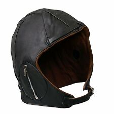 Aviator Black Leather Vintage WWII Hat Extra Large