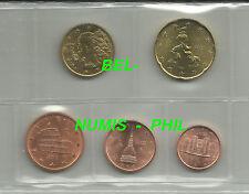 ITALIE 2002 - serie van 1- 2- 5 -10 & 20 cent uit de rol - UNC !