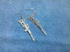 UNIQUE SILVER sub machinegun sniper rifle SHOTGUN GUN PISTOL  earrings