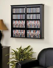"Black Media Storage Cabinet Wall Hanging Shelf Rack 32"" CD DVD Display Organizer"