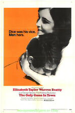 THE ONLY GAME IN TOWN MOVIE POSTER  Folded 27x41 ELIZABETH TAYLOR