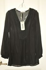Monoreno Sheer Black Long Sleeve V neck Embroidery Tunic Size S New With Tags