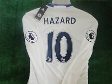 CHELSEA SHIRT AWAY  HAZARD  2016-17 BNWT SIZE M -LARGE  PREMIERSHIP BADGES L/S
