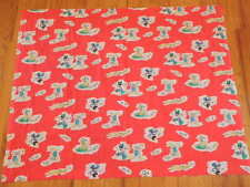 """VINTAGE FABRIC MICKEY MOUSE Dance Cotton Blend 44"""" x 36"""" Minnie Donald Red A28"""