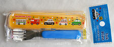 Kids Fork Carry Case Travel Portable Boys Car Truck Bus Cutlery Bento Box Lunch