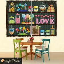"55"" x 39"" Colorful Lollipops Candy Kitchen Panels Set Yummy Sweets Kids Curtain"