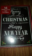 merry christmas and happy new year holiday/christmas cards 16 envelopes/cards