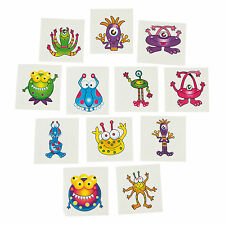 36 Alien MONSTER TATTOOS Kids Temporary Halloween Bag Fun Birthday Party Favors
