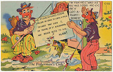 """The Fisherman's Code"" Vintage Comic Postcard from Castile, New York 1946"
