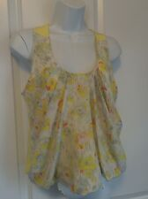 HUNTER DIXON Anthropologie Lemon Yellow Floral Cropped Puffed Top 4