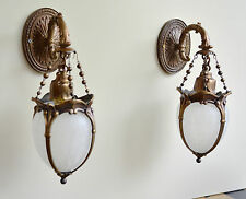 Pair antique bronze cast iron wall Lamps frost glass shades 1930s-40s