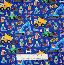 Kids Fabric - Construction Workers & Tools Blue - Timeless Treasures YARD