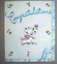 Congratulations New Baby white teddy bear vintage greeting card  *AA