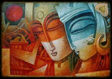 Abstract, Indian Oil Painting On Cotton Canvas.  Musical.