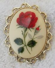 CLASSIC PIN CAMEO BROOCH ROSE FLOWER PETALS LEAF FLORAL DESIGN GOLD TONE F DS-4