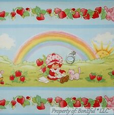 BonEful FABRIC FQ Cotton Quilt Strawberry Shortcake Doll Girl VTG Rainbow Stripe