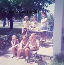 EKTACHROME 35mm Slide Pretty Woman Girls Boy Baby Stroller Tricycle House 1960s!