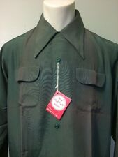 Vtg 40s 50s Shirt Flap Loop NOS Deadstock Rayon Dress Rockabilly VLV NWT Md Mens