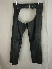 Unik Premium Black Leather Chaps Unisex Medium Motorcycle Biker Heavy Leather