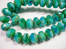 25 8x6mm Turquoise Blend Picasso Czech Fire polished Rondelle beads