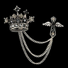 Crown Cross Unisex Jacket Coat Brooch Pin Jewelry Accent Pin Chain Accent