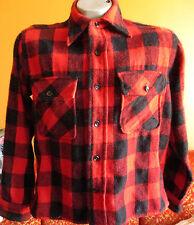 M Vintage Sears Pilgrim Red and Black Buffalo Plaid Check Wool Shirt/Jacket Usa