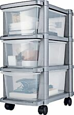 3 Drawer Slim Tower Plastic Storage Unit - Silver Mounted on wheels for easyman