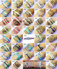 Wholesale 40pcs Jewelry Leather Cute Infinity Charm Bracelet Silver lots Style