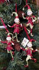"Set 4 NWT RAZ Imports 5"" Santa's Elves ELF Christmas ORNAMENTS Tree Decorations"