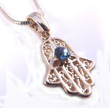 Hamsa Necklace Pendant Kabbalah Lucky / Evil Eye Hand Of Fatima Gold Charm