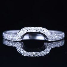 10K White Gold Diamond Anniversary Wedding Chevron Curved Matching Band Ring
