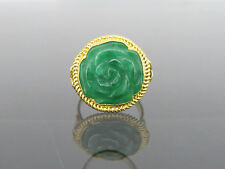 Vintage 24K 980 Solid Gold Natural Green Jadeite Jade Rose Flower Ring Size 5.5