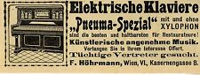 Elektrische Klaviere F.Hörmann Wien Ad 1910