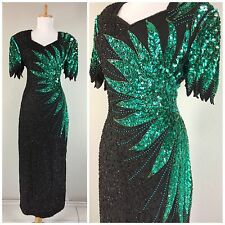 Vintage 1980s Black Beaded Green Sequin Keyhole Open Back Dress Gown Hourglass L