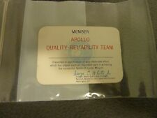 "VINTAGE - NASA UNSIGNED APOLLO 11 QUALITY RELIABILITY TEAM 3.25"" X 2.25"" CARD"