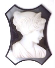 Antique Vintage Unusual Shape Black & White Large CAMEO #E9