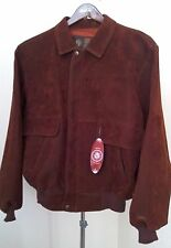 NWT Men's GV Hand Made in Italy Brown Burgundy Suede Bomber Jacket XL