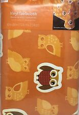"Owl Print Vinyl Table Cloth 60x84"" Rectangle Home Decor Harvest Thanksgiving NEW"