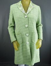 Bloomingdales Silk Blend Green Jacket Trench Coat Size 8P Polka Dot Weave A8