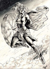 THOR GIRL BY MR JORDAN-ART PINUP Drawing Original COMIC