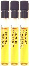 CHANEL CRISTALLE EAU DE PARFUM .03OZ X 3 = 3ML PERFUME MINI SAMPLE VIAL SET LOT