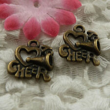 free ship 135 pieces bronze plated i love CHEER charms 25x18mm #4114